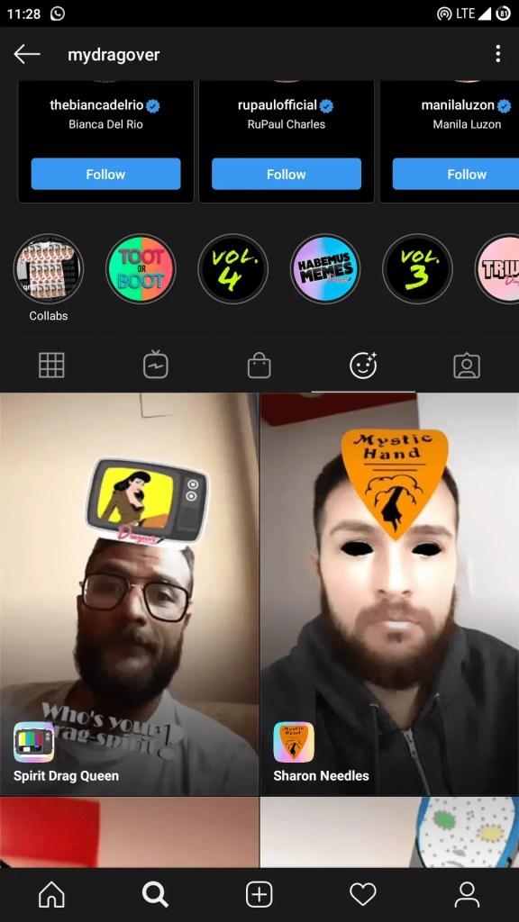 Who Is Your Drag Spirit Instagram filter link