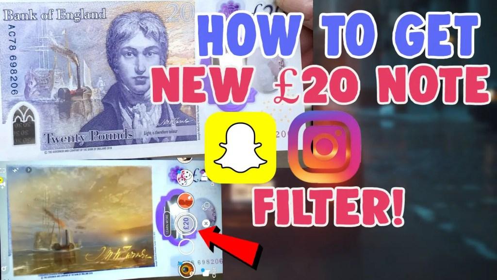 20 pound note snapchat filter