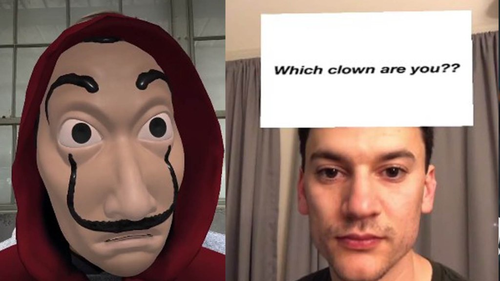 which clown are you la casa de papel instagram filter