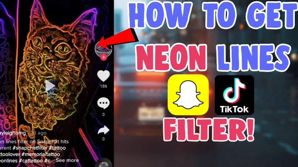 neon lines filter tiktok tattoo snapchat