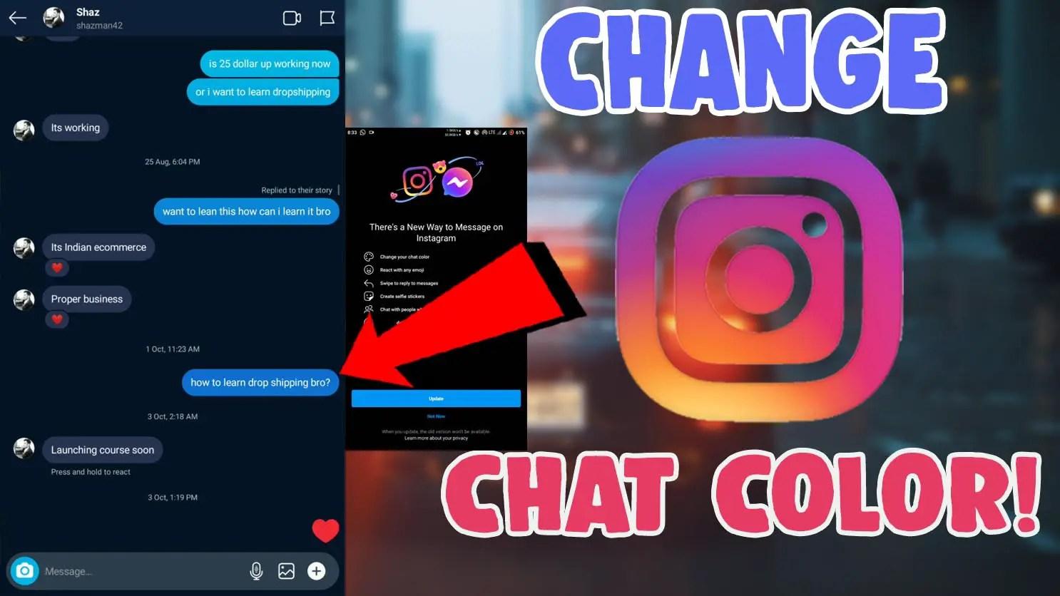 change chat message theme color instagram