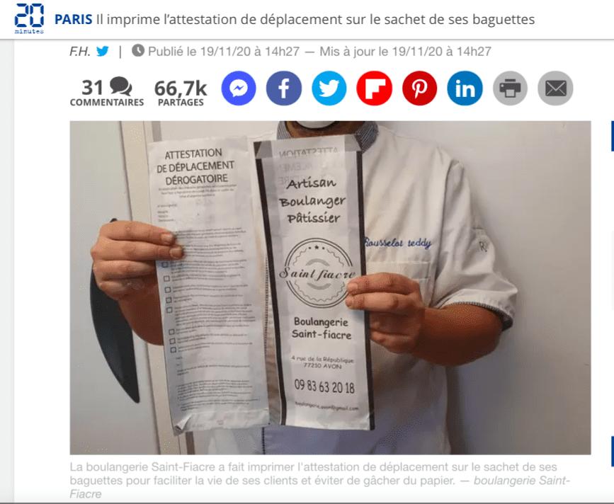 Самоизоляция: пекарь напечатал сертификат передвижения на пакетах для багета.