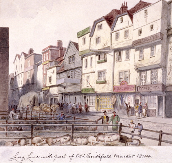 View of Long Lane, with pigs in pens in part of old Smithfield Market, London, 1844. (Photo by Guildhall Library & Art Gallery/Heritage Images/Getty Images)