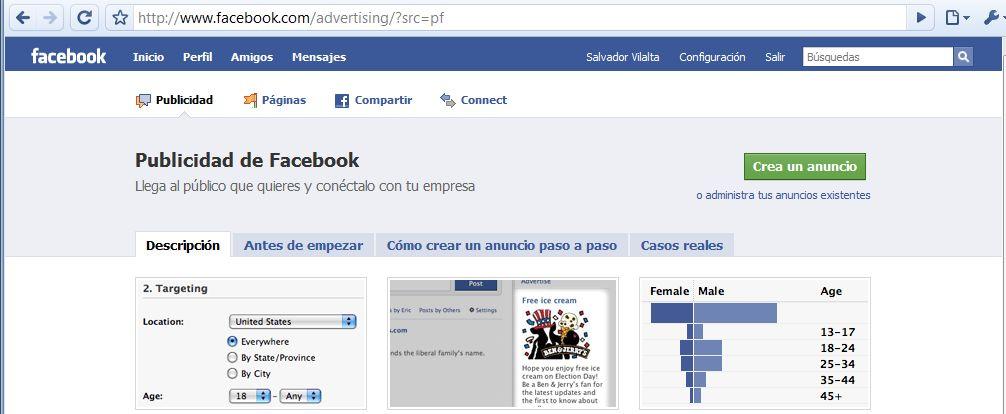 Página de preparación anuncio Facebook