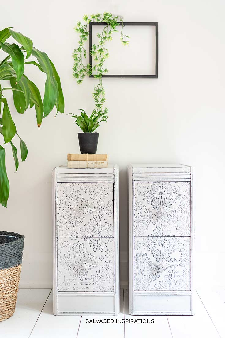 Painted Nightstands With Stencil Texture Salvaged Inspirations
