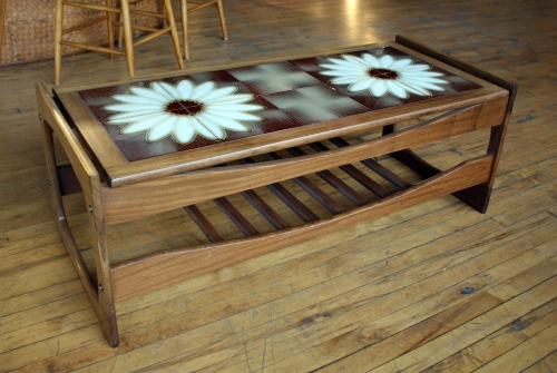 daisy tile top coffee table – salvage one