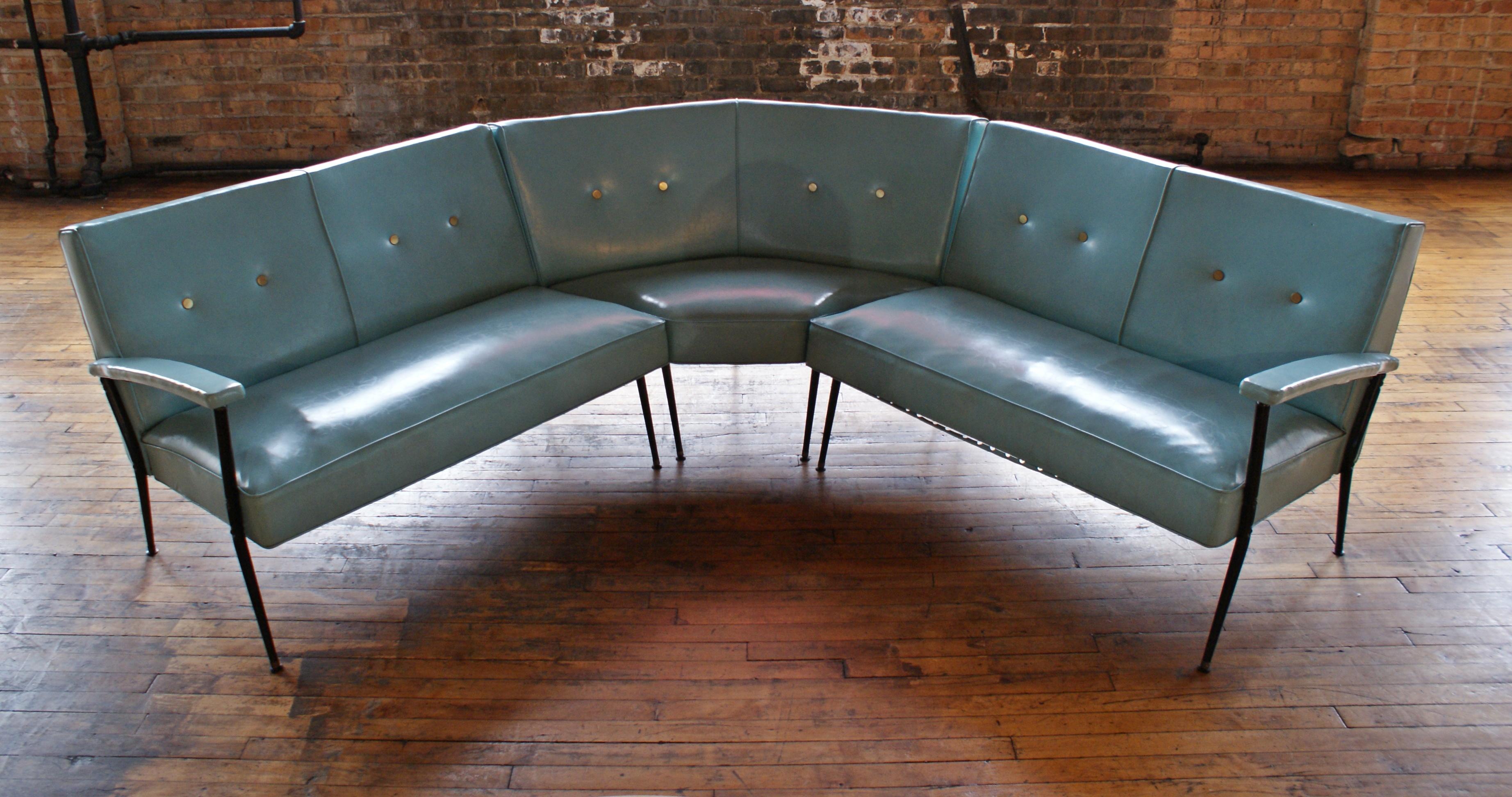 mcm turquoise vinyl sectional sofa w