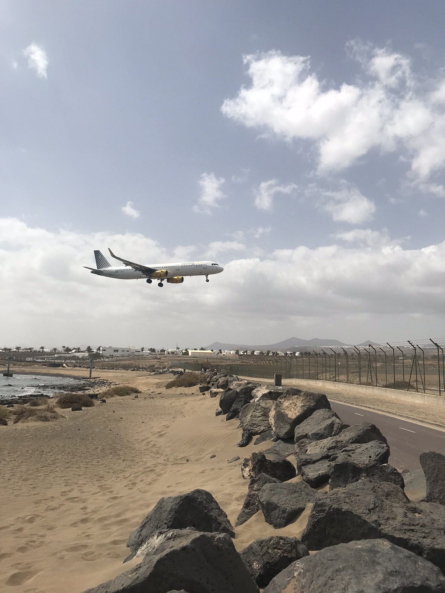 Airplane landing at Lanzarote Airport