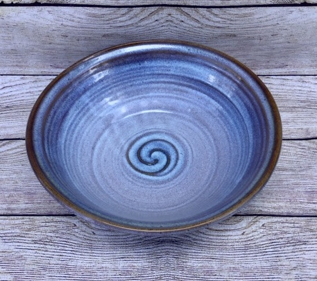 Large blue Pottery Serving Bowl