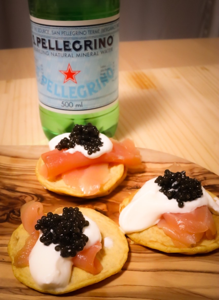 San Pellegrino – Easy Blinis with Smoked Salmon and Caviar