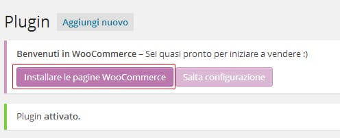 installa pagine woocommerce ecommerce WordPress