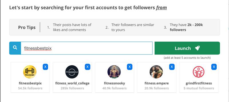 selezionare account targets Stim social