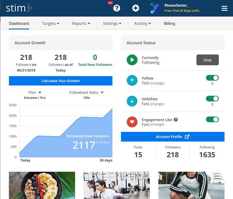 dashboard Stim social