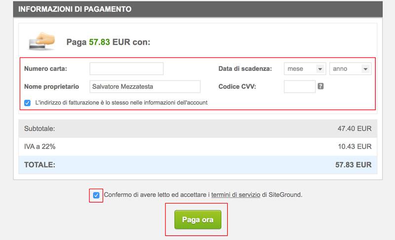 inserimento dati pagamento acquisto dominio e hosting