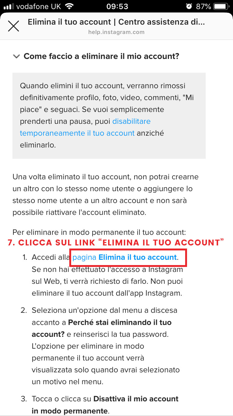 step 7 cancellare account instagram