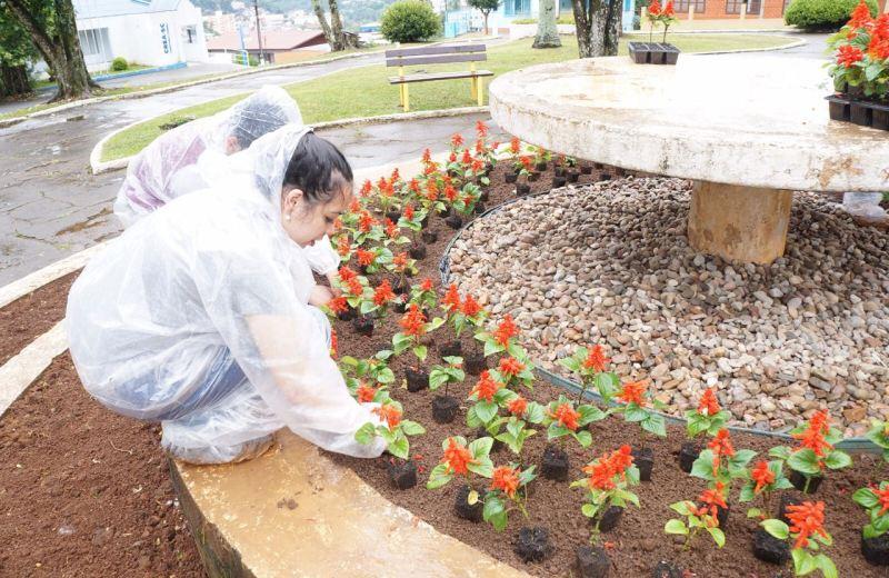 Comissão da Juventude constrói novo canteiro de flores na praça da Matriz em Videira – SC