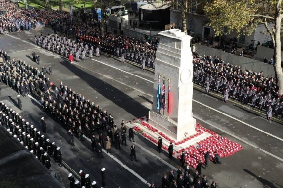 Veterans march at the Cenotaph during Remembrance Day parade