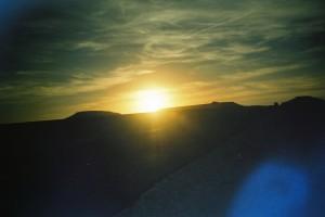 Soleil couchant sur la route d'Essaouira