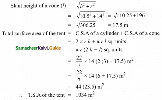 Samacheer Kalvi 10th Maths Guide Chapter 7 Mensuration Additional Questions LAQ 9