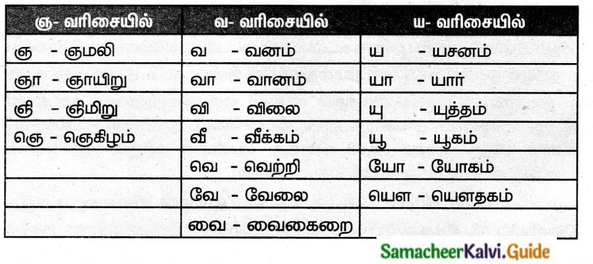 Samacheer Kalvi 6th Tamil Guide Chapter 3.5 மொழிமுதல், இறுதி எழுத்துகள் 1