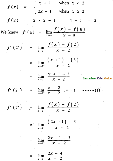 Samacheer Kalvi 11th Maths Guide Chapter 10 Differentiability and Methods of Differentiation Ex 10.5 26