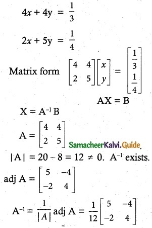 Samacheer Kalvi 12th Maths Guide Chapter 1 Applications of Matrices and Determinants Ex 1.3 11