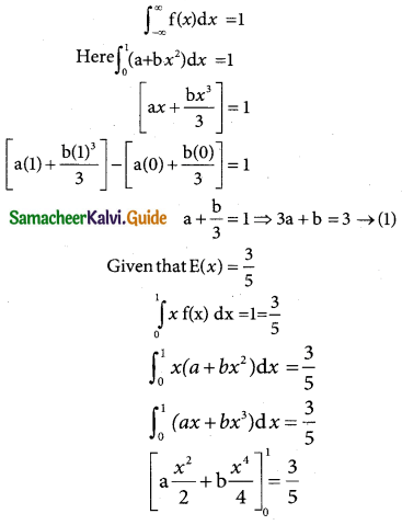 Samacheer Kalvi 12th Business Maths Guide Chapter 6 Random Variable and Mathematical Expectation Miscellaneous Problems 6