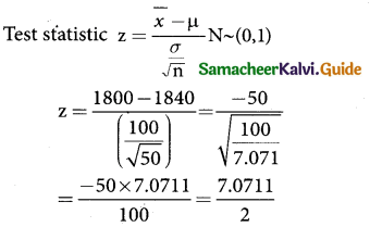 Samacheer Kalvi 12th Business Maths Guide Chapter 8 Sampling Techniques and Statistical Inference Ex 8.2 3