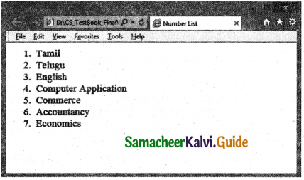 Samacheer Kalvi 11th Computer Applications Guide Chapter 11 HTML – Formatting Text, Creating Tables, List and Links 17