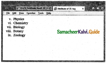 Samacheer Kalvi 11th Computer Applications Guide Chapter 11 HTML – Formatting Text, Creating Tables, List and Links 20