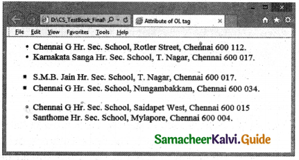 Samacheer Kalvi 11th Computer Applications Guide Chapter 11 HTML – Formatting Text, Creating Tables, List and Links 26
