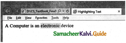 Samacheer Kalvi 11th Computer Applications Guide Chapter 11 HTML – Formatting Text, Creating Tables, List and Links 3