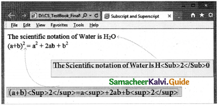 Samacheer Kalvi 11th Computer Applications Guide Chapter 11 HTML – Formatting Text, Creating Tables, List and Links 45