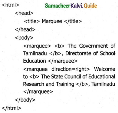 Samacheer Kalvi 11th Computer Applications Guide Chapter 12 HTML – Adding Multimedia Elements and Forms 13