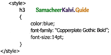 Samacheer Kalvi 11th Computer Applications Guide Chapter 13 CSS – Cascading Style Sheets 1