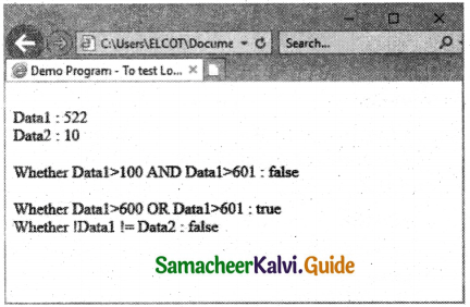 Samacheer Kalvi 11th Computer Applications Guide Chapter 14 Introduction to Javascript 4