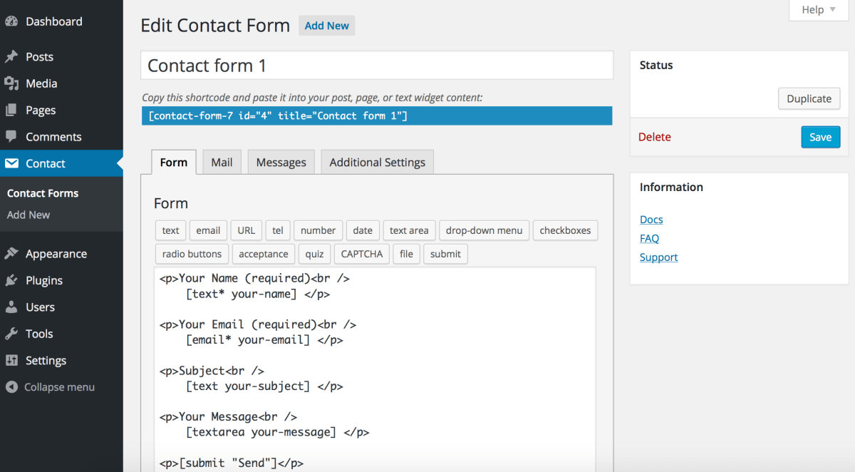contact-form-7 - free blog setup