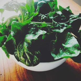 a bowl of spinach leaves for green smoothie