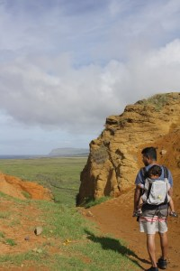 Hiking up to the top of the crater at Rano Raraku for 360 views, Easter Island