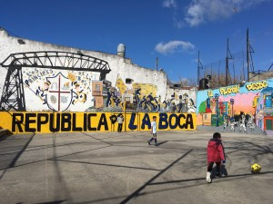 Local kids playing football in La Boca, Buenos Aires
