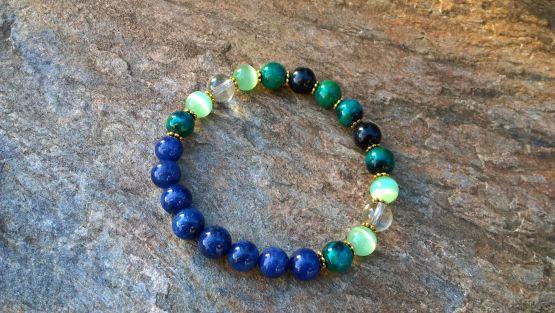 Mix zielono - niebieskich kamieni