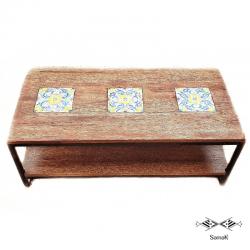 table basse fer forge et bois de palmier basma