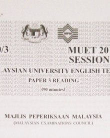 MUET 2018 Session 1 – Paper 2 Speaking – Booklet 1