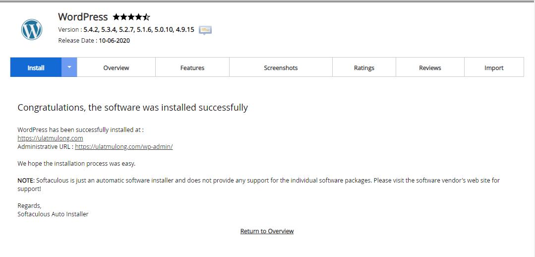 success install wordpress