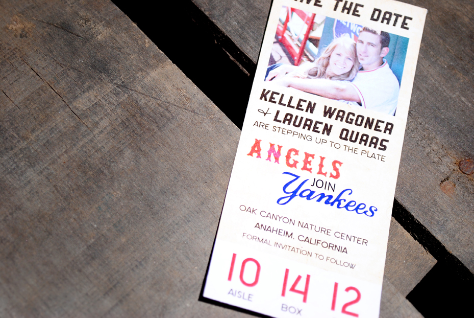 baseball ticket save the date lauren and kellen sam allen creates