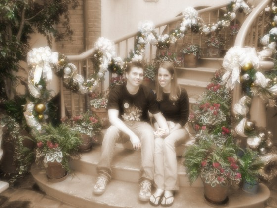 2005, the year we first started dating and our first photo in the courtyard