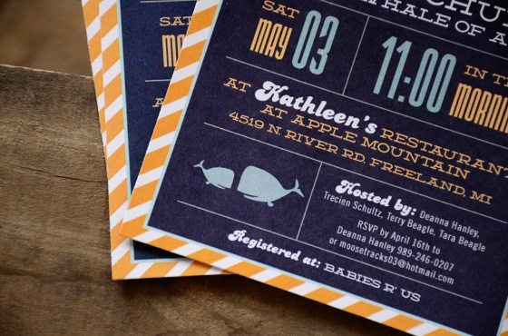 Ahoy Its A Boy Nautical Baby Shower Invitation blue and orange 183
