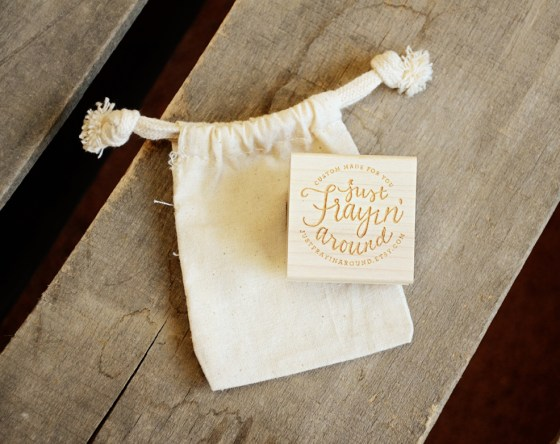 just frayin around your new friend sam etsy shop rubber stamp with muslin bag