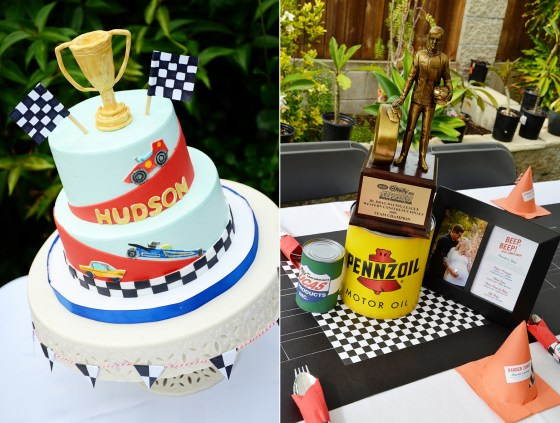 car themed shower party cake and centerpiece