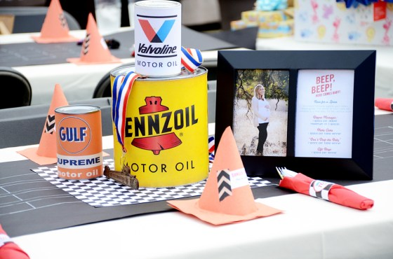car themed shower party centerpiece 2